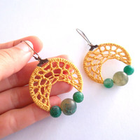 Mustard Yellow Crochet Earrings with Mossy Agate Stone Beads, Green Yellow Lace Crochet Hoops, Chartreuse Boho Beaded Hoops, Hippie Jewelry