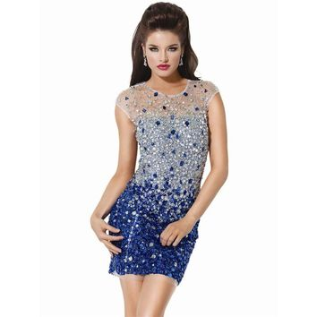 Vestidos De Fiesta 2015 Luxury Crystal Beaded Open Back Short Cocktail Dresses Sexy Prom Gown Mini Party Dress Robe Cocktail