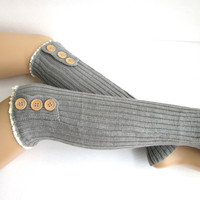 Knitted Leg Warmers in Grey- Boot Cuffs- Knee Socks-Lace Leg Warmers-Button Boot Sweaters.
