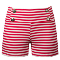 Women's Sailor Striped Shorts - Red