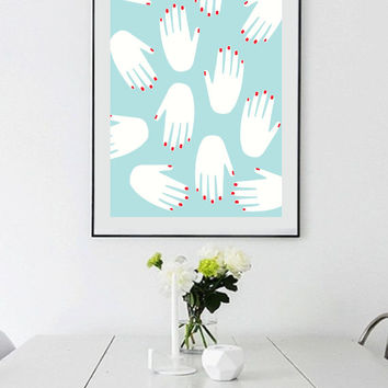 Abstract Hand Print, Wall Decor, Art Poster,Home Decor, Abstract Art, Modern Decor, Modern Print, Large Wall Art, A1, A2, A3.