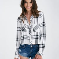 Cropped Long Sleeve Plaid Shirt | Wet Seal
