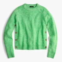 Brushed lambswool cropped crewneck sweater with buttons