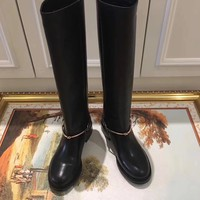 GUCCI fashion Women Leather Zipper Knee Length High boots shoes Black Best Quality
