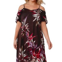Brown&Multicolor Floral Cold Shoulder Plus Size Dress with Waist Tie