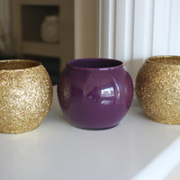 Gold and Purple Wedding Centerpiece, Gold and Purple Centerpiece, Engagement Party Centerpiece, Eggplant vase, Gold Decor, Round Vase