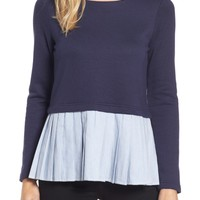 Pleione Pleat Inset French Terry Top (Regular & Petite) | Nordstrom