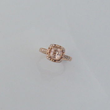 14k Rose Gold Vintage Style Square Cushion Morganite and Diamond Halo Engagement Ring Weddings Anniversary
