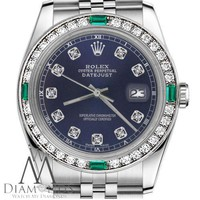 Ladies Rolex 31mm Datejust Navy Blue Color Dial with Emerald & Diamond Watch