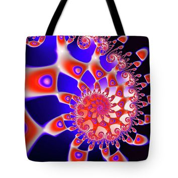 Vivid Happy Fractal Spiral Red Blue Black Tote Bag