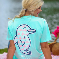 Penguin Print Loose Pocket T-Shirt