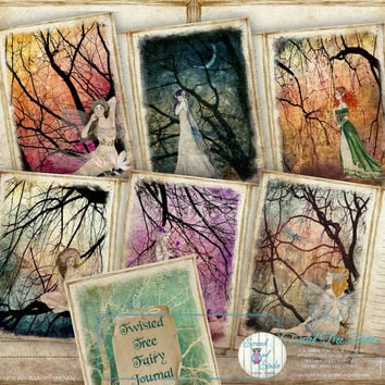 Fairy Journal, Fairies, Journal Pages, Journal Cards, Printable Journal, Digital Paper Craft Supplies, - 'Twisted Tree Fairy Journal'