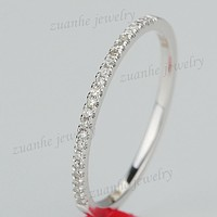 1/10CT Natural Diamond Half Eternity Ring Solid 10k White Gold Women Engagement Wedding Band