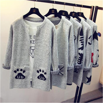2016fashion cartoonstar pattern  long-sleeved knit cardigan sweater Slim women round neck and long sections pocket sweater coat