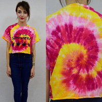 Tie Dye Shirt Pot Leaf Crop Top Hippie Soft Grunge Psychedelic Ganja 420 Handmade Clothing Womens Cutoff Bright Size Medium