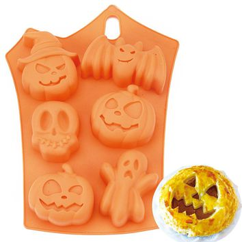 Halloween Holiday Pumpkin Cake Mold 6 Cell Silicone Molds Ghost Bat Chocolate Mould Cake Decorating Tool DIY Bakeware Tools