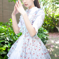 Cheap Pastoral Style Fake Two Pieces Floral Prints Short Sleeve Dress Sweet Lolita Sale At Lolita Dresses Online Shop