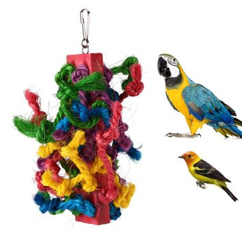 Parrot toy. Colorful, Chewing, Climbing Wood and rope Bird Toy