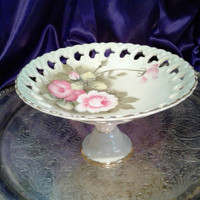 Lefton Green Heritage Rose Tidbit Server, Pedestal Bon Bon Tray, Lattice Edge Porcelain Serving Plate 2274, Hand Painted Cottage Rose Design