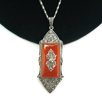 Art Deco Necklace. Carnelian Gemstone. Marcasite Sterling Silver. Antique Pendant. Vintage Germany 1920s Art Deco Jewelry.