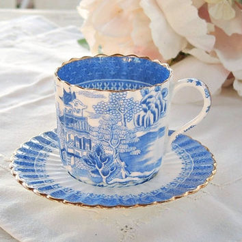 Rare 1800's Blue Willow Demitasse Coalport Demitasse Tea Cup Set, Wedding Tea Set, Antique English Bone China, Small Tea Cup Set, Numbered