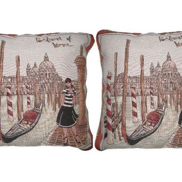"Set of Two Postcard of Venice Elegant Novelty Woven Square Throw Toss Accent Cushion Cover Pillow with Inserts - 2-Pieces - 18"" x 18"" (CC45X45CMG14420)"