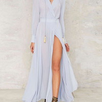 Light Blue Plunge V-neck Long Sleeve Split Maxi Chiffon Dress