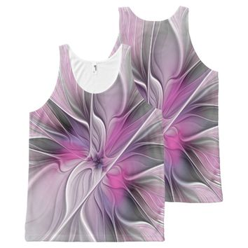 Floral Fractal Modern Abstract Flower Pink Gray All-Over-Print Tank Top