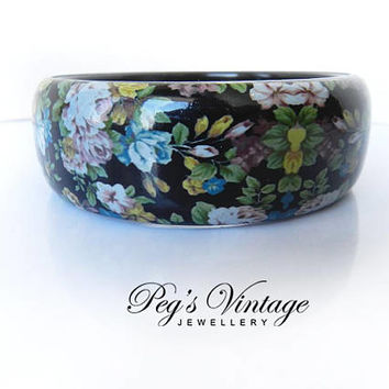 Floral Plastic Bracelet Bangle, Vintage Roses Cottage Chic Jewelry