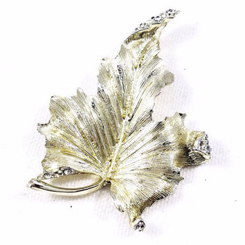 Gold and rhinestone leaf pin brooch, rhinestone scarf pin, gold leaf coat pin, large vintage maple leaf brooch