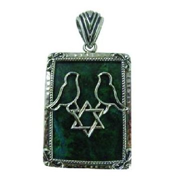 Emerald Green Judaic Star Peace Dove Necklace Pendant Jewelry