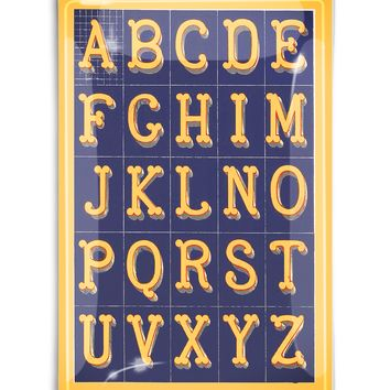 Alphabet Blue and Yellow Fancy Lettering Decoupage Glass Tray