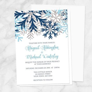 Snowflake Winter Wedding Invitations - Navy Aqua Blue and Silver design on White for Winter Weddings - Printed Snowflake Invitations