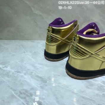 KUYOU N982 Humidity X Nike SB Dunk High QS Trumpet High Skate Shoes Gold Purple