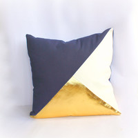 Geometric Navy, White & Metallic Gold Pillow Cover, Gorgeous home decor navy and metallic gold cushion cover. Throw Pillows Cushions