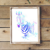 Zebra Watercolor Printable Safari Animal Nursery Decor Baby Nursery Kids Room Wall Art Animal Print 8x10 11x14 Instant Download