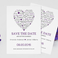 I Love You other Languages Heart Save the Date Editable PDF Templates - 5x7 Eggplant Heart Save the Date Printable Card - DIY You Print