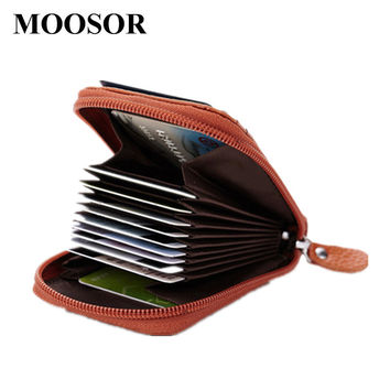 2017 New Genuine Leather Women Men ID Card Holder Card Wallet Purse Credit Card Business Card Holder Protector Organizer DC111