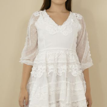 chiffon dot lace white dress