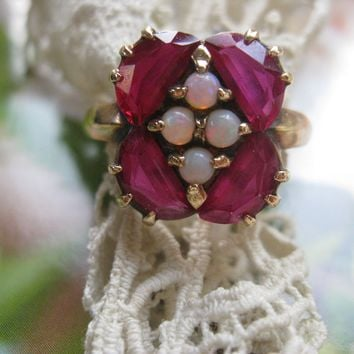 Vintage 1940s, Synthetic Ruby, Opal Ring, 10K  Yellow Gold, Fine Estate Jewelry