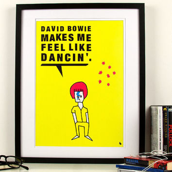 Pop art poster print yellow music David Bowie drawing by kyd13