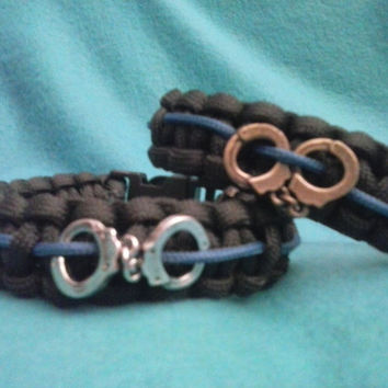 Thin Blue Line Paracord Bracelet with Handcuffs