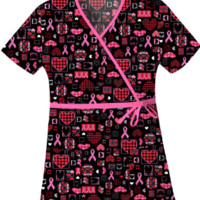 Breast Cancer Scrub Tops Caring For The Cause - Cherokee 4788
