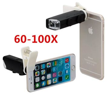 Universal Clip LED Microscope 60X-100X Zoom Magnifier Micro Mobile Phone Camera Lens For iPhone 6S plus 5S Samsung Huawei CL-53