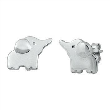 .925 Sterling Silver Small Elephants Ladies Kids and Baby Stud Earrings