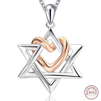 925 Sterling Silver Star of David with Rose Gold Color Love Heart Pendant Necklace