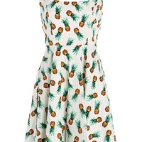 Cute Summer Pineapple Print A-Line Retro Dress