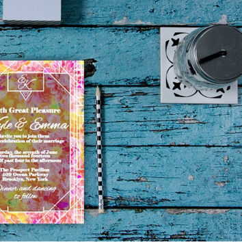 Printable Wedding Invitation, Floral Wedding Invitation, Art Deco Wedding Invitation, Boho Wedding Invite, Modern Invitation