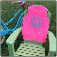 Comfort Colors Tank Top Monogram Tank Top in Solid or Glitter Vinyl  Monogram Tanktop Monogrammed Tank  Top Monogrammed Gifts