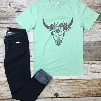Steer Head Tee- Mint